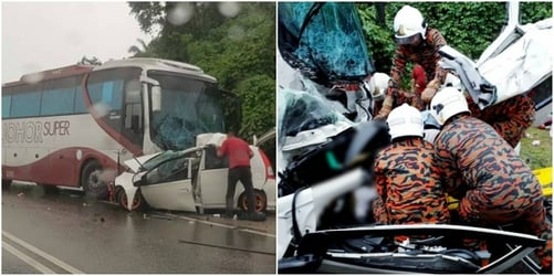 Car crash in Malaysia: Family of six killed in bus-car collision