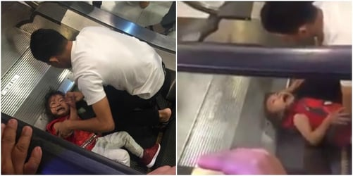 Little Girl In The Philippines Gets Hair Stuck In Escalator At Mall