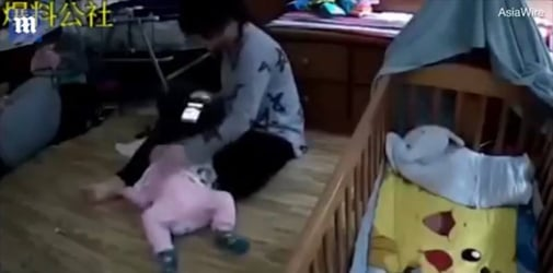 Abusive babysitter slaps 8-month-old baby while playing on her phone