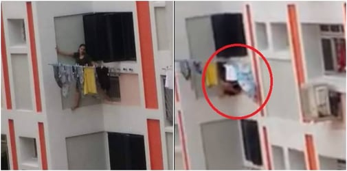 Distressed Singapore Maid Seen Standing On Window Ledge In Alleged Suicide Attempt