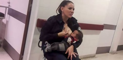 Police officer breastfeeds hungry baby who was called 'smelly and dirty'