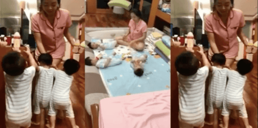 Mum expertly trains her triplets to behave during feeding time