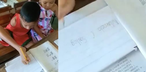 8-year-old child without hands uses feet to write, showing us true meaning of positivity