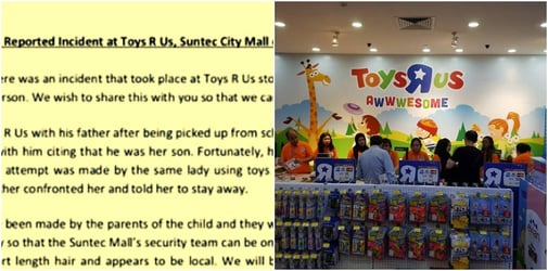 Woman allegedly tried to kidnap K1 boy at Suntec City Toys 'R' Us