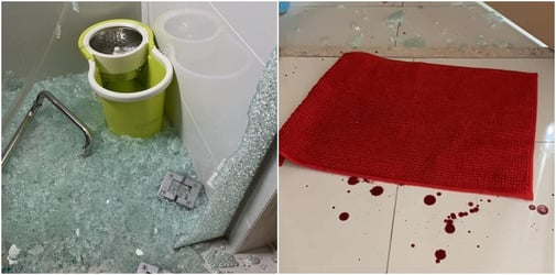Singapore mum's horror as glass door shatters on children leaving them dripping in blood