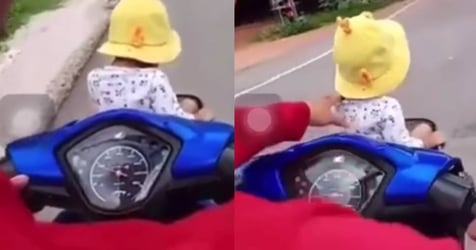 Man and Woman Endanger Toddler for Entertainment On The Road In Thailand
