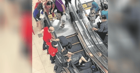 Wife in Tears After Elderly Man Tumbles Down Escalator in Hillion Mall
