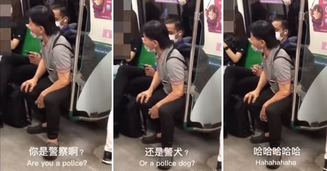 Man Refuses To Wear Mask Properly On MRT, Asks Fellow Passenger 'Are You A Police Dog?'