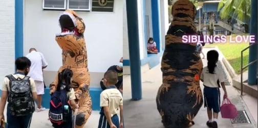 S'pore Boy Dresses Up In T-Rex Costume To Pick Up Sister From School In Pasir Ris