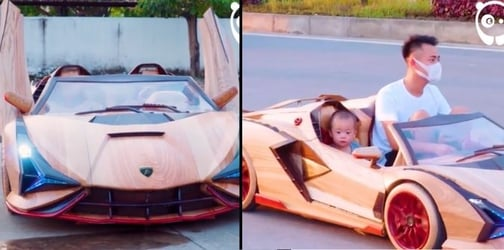 Father Of The Year: Man Surprises Son With A Fully Functional Wooden Lamborghini
