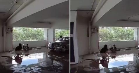 Stop Ho(r)sing Around: Town Council Warns Family Playing With Fire Hose Reel At Ang Mo Kio Carpark