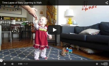 Watch this time lapse video of baby girl learning to walk