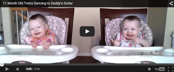 Cute baby video: Twins dance to daddy's guitar
