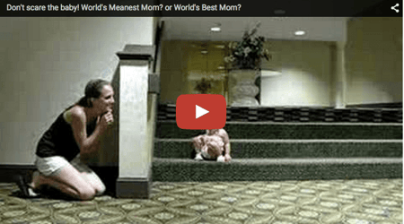 Funny baby video: Mean mommy scares baby!