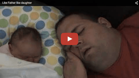 Funny baby video: Dad-baby in a snore-fest!