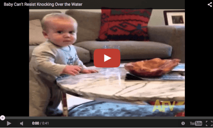 Funny baby video: Resist knocking off water?