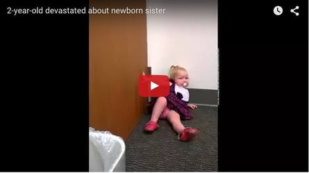 Girl throw tantrums after news of her sister being born breaks