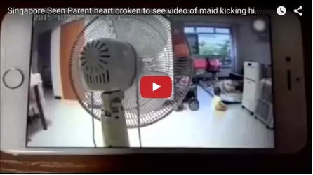 Maid caught on camera kicking 2-year-old in Singapore