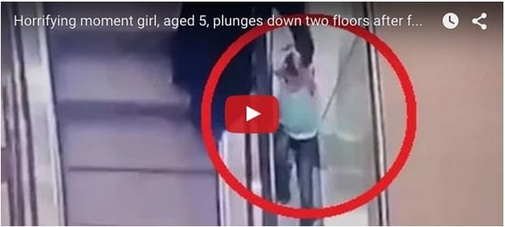 5-year-old plunges down 2 floors after falling from escalator; aunt watches in horror