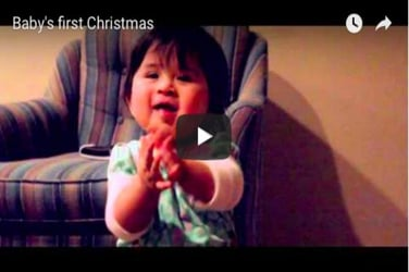 Watch how this child celebrates his first Christmas