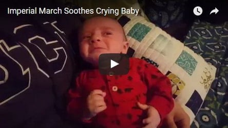 This baby finds solace in the 'Imperial March' tune from Star Wars
