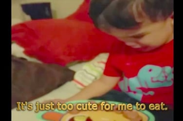 Sobbing toddler refuses to eat dinner because it's 'too cute'