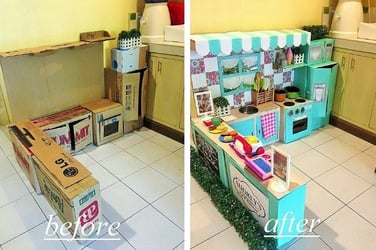 The mom behind this awesome DIY play kitchen shares how you can make one of your own!