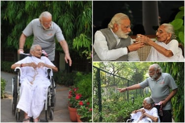 Look! PM Narendra Modi's mother visits his official residence for the first time!