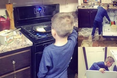 """VIRAL: Single mom teaches her son to do chores because housework """"isn't just for women"""""""