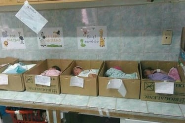 """Image showing newborns in cardboard boxes highlights """"hospital crisis"""""""