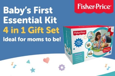 This Fisher-Price 4-in-one Baby's First Essentials gift set is something all mums and mums-to-be will fall in love with!