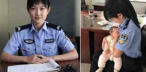 Policewoman tenderly breastfeeds suspect's small baby