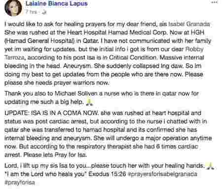 Singer-actress Isabel Granada in a coma after brain hemorrhage and cardiac arrest in Qatar