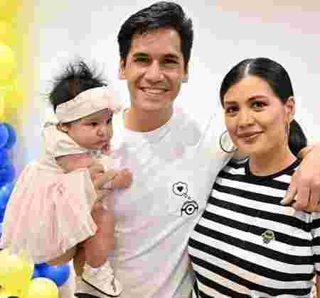 Rich Asuncion with baby Bela and husband