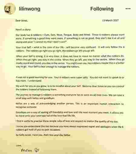 This letter by Wong Li-Lin to her son is an EYE-OPENER!