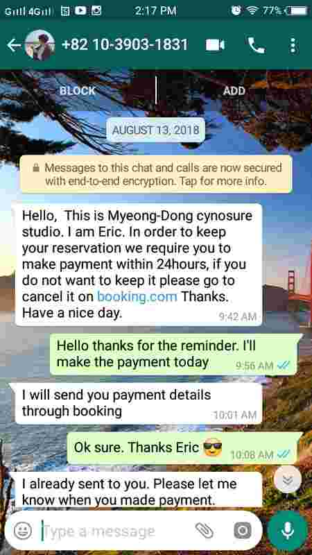 man claims booking scam