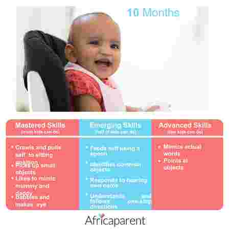 10 months old baby development and milestones infographic