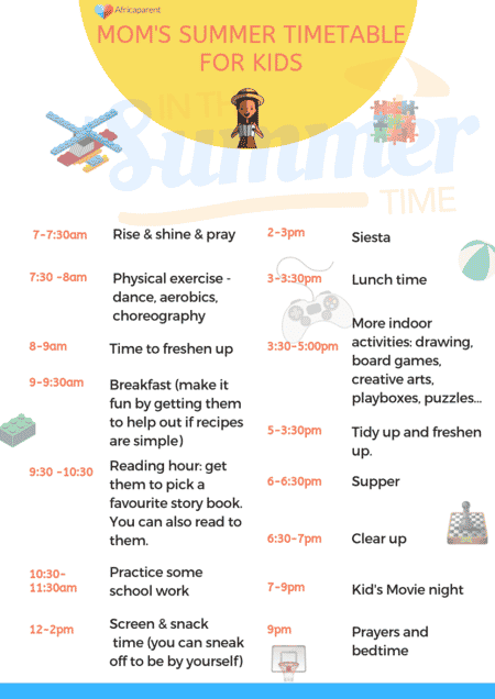 Summer Timetable to keep kids busy