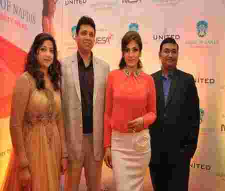 Director Alkka Mistry, Founder Nehal Mehta with actress Raveena Tandon and Chairman MD Nesa Chirag Savla at the House of Napius launch at Taj Lands End in Mumbai