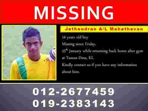 Missing child in Malaysia - M. Jethendran