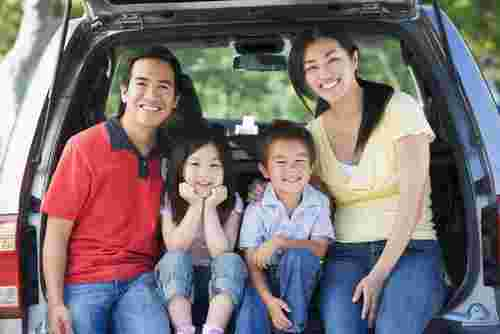 asian family on road trip