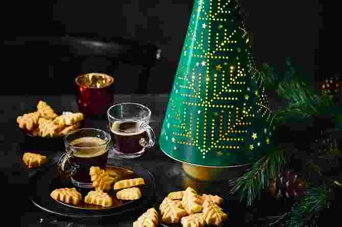 Musical Rotating Tree Biscuit Tin with All Butter Mini Shortbread Trees