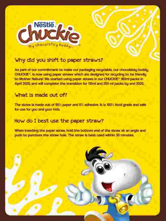 Be a buddy to mother nature with Nestle´ Chuckie's paper straws