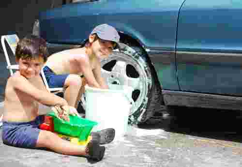 Car washing with the kids