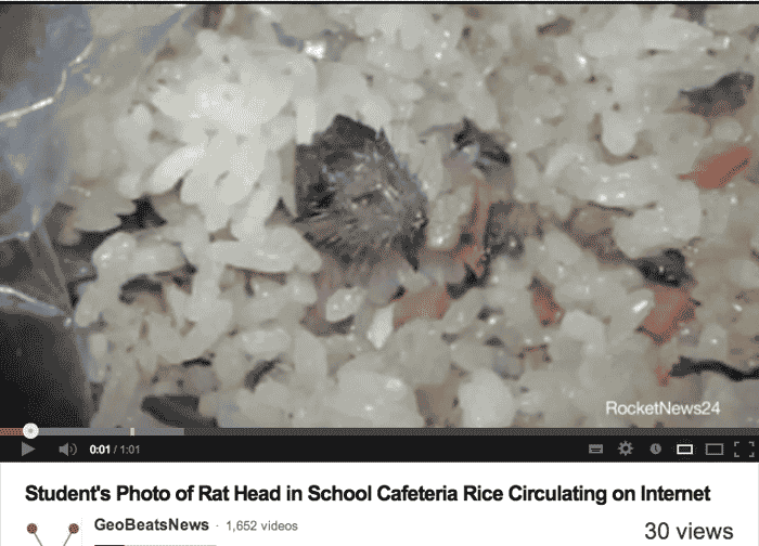 Rat found in food