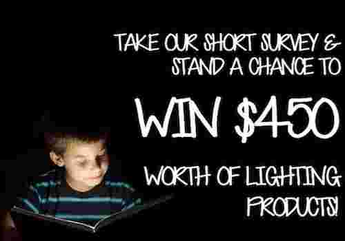 You could win $450 worth of lighting products by answering just a few questions!