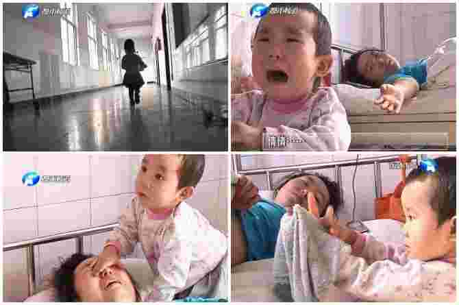 3 year old chinese girl cares for her injured mother