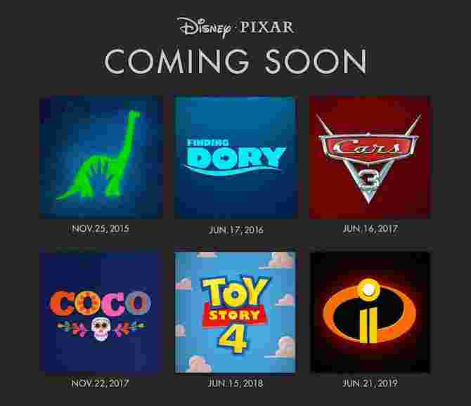 Disney•Pixar announces release dates of upcoming movies up till 2019