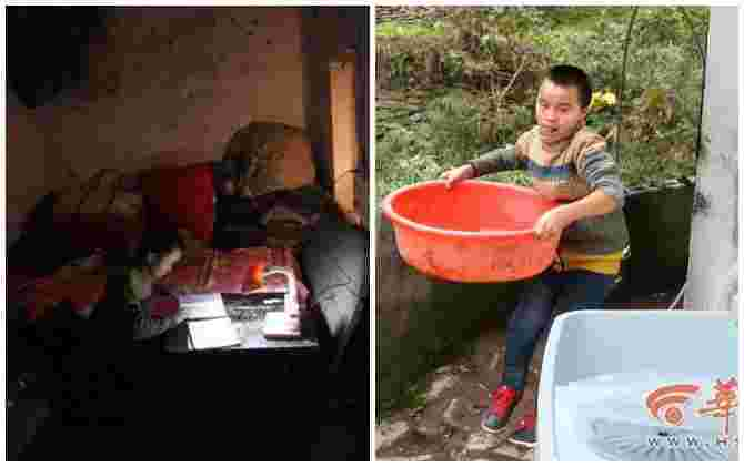 Chinese boy cares for blind parents