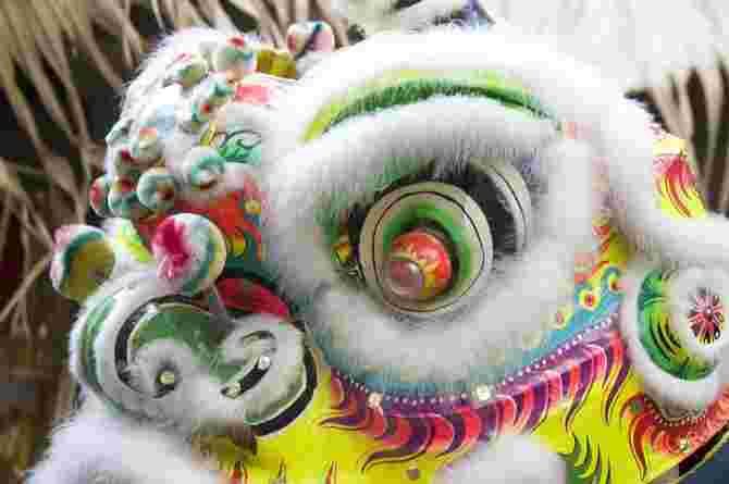 The lion dance costume is all geared toward fighting evil!